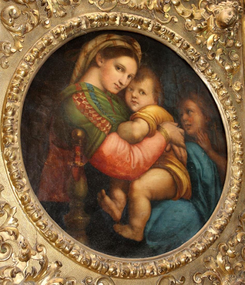 Madonna della Sedia. 19th century oil on canvas. After - 6