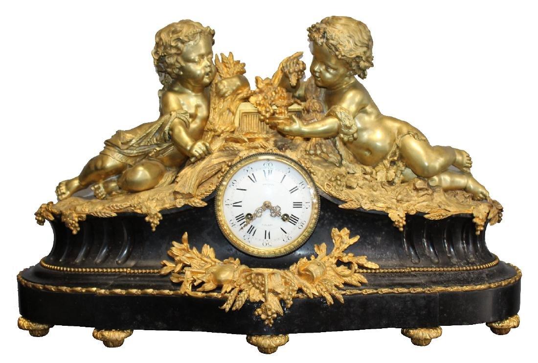 French Renaissance bronze cherub clock