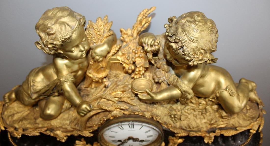 French Renaissance bronze cherub clock - 2