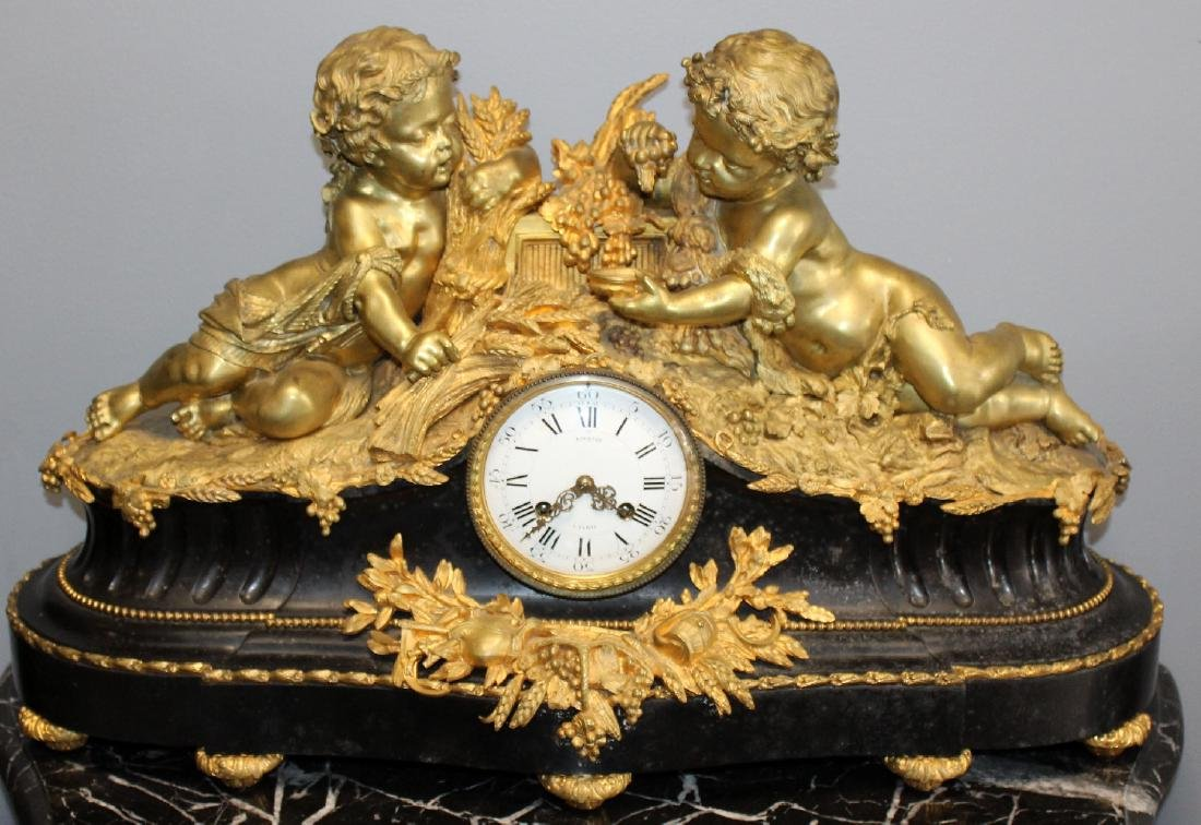 French Renaissance bronze cherub clock - 3