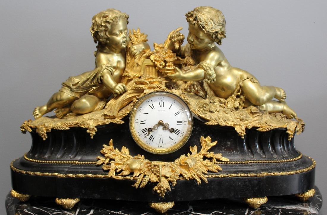 French Renaissance bronze cherub clock - 4
