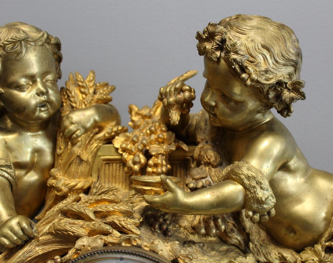 French Renaissance bronze cherub clock - 5