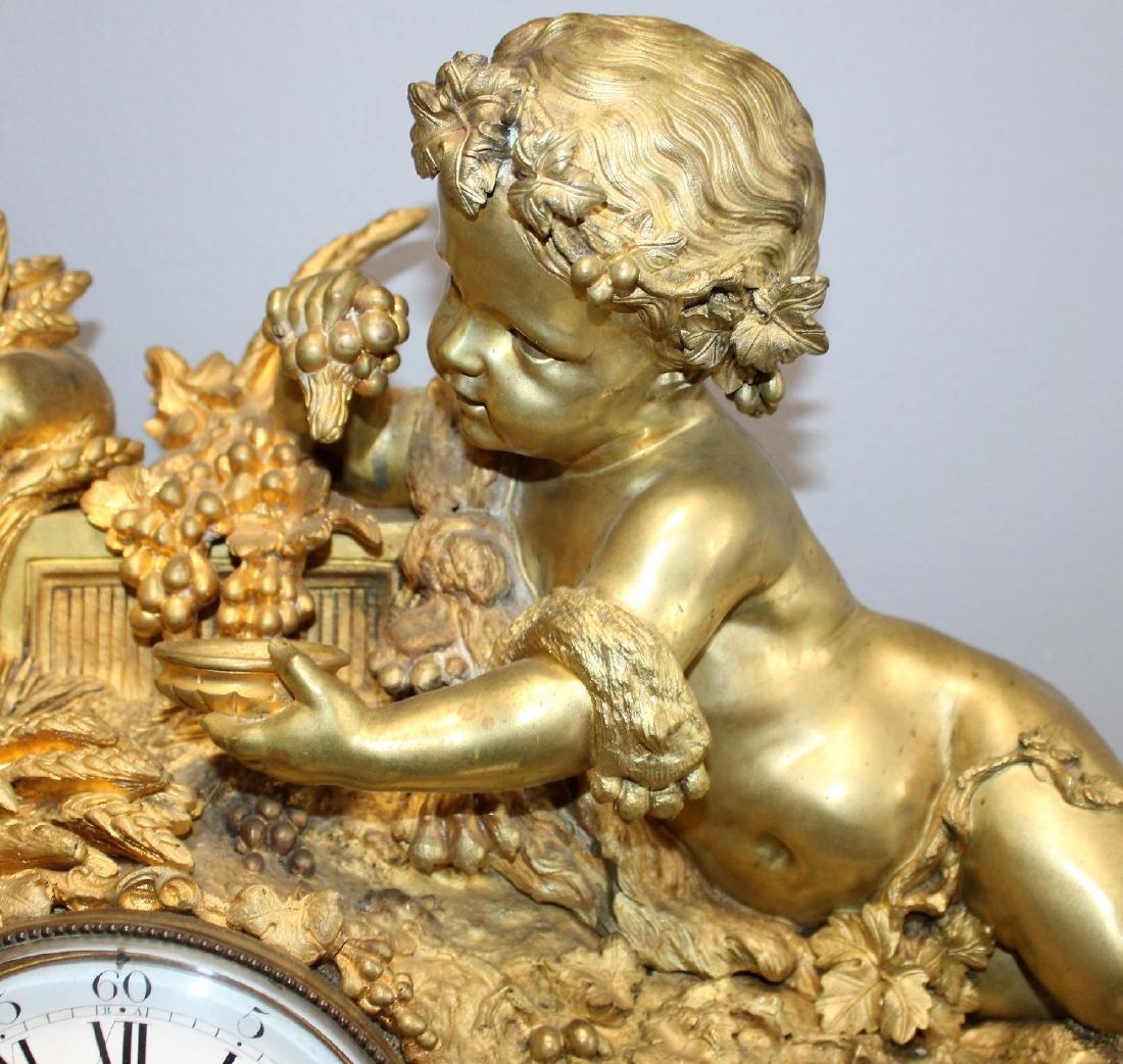 French Renaissance bronze cherub clock - 7
