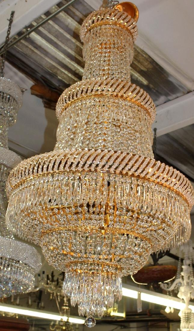 Dore finish tiered crystal chandelier