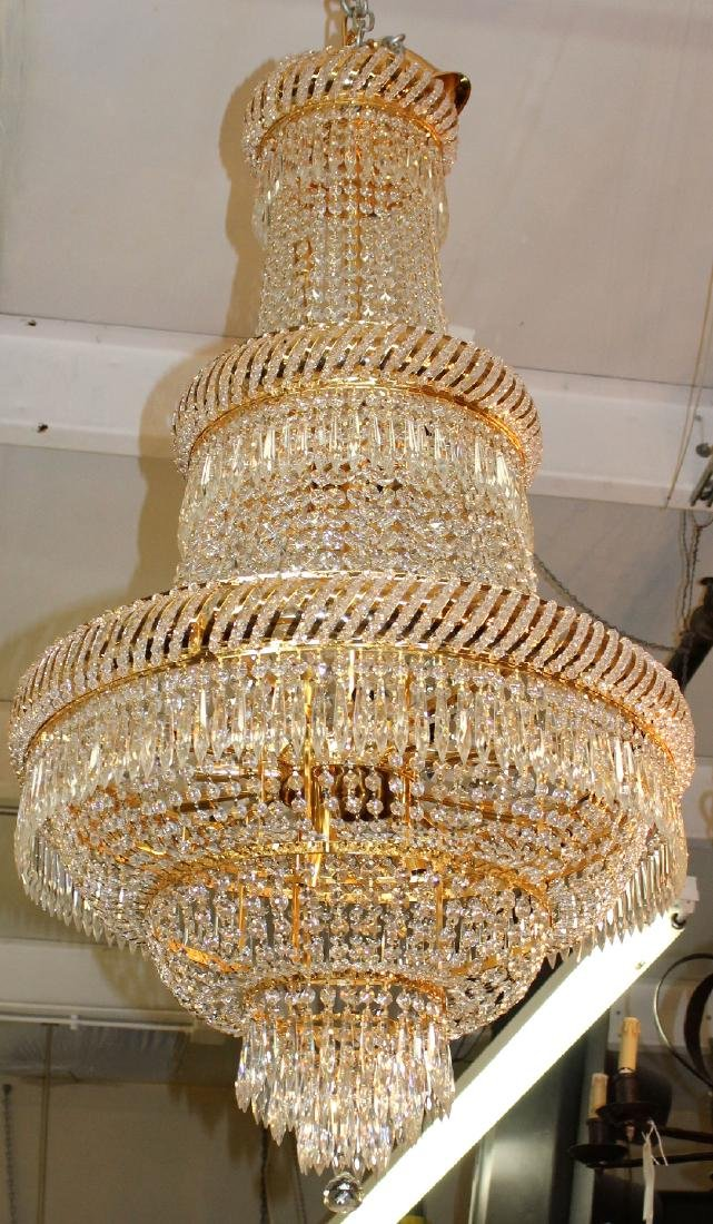 Dore finish tiered crystal chandelier - 2