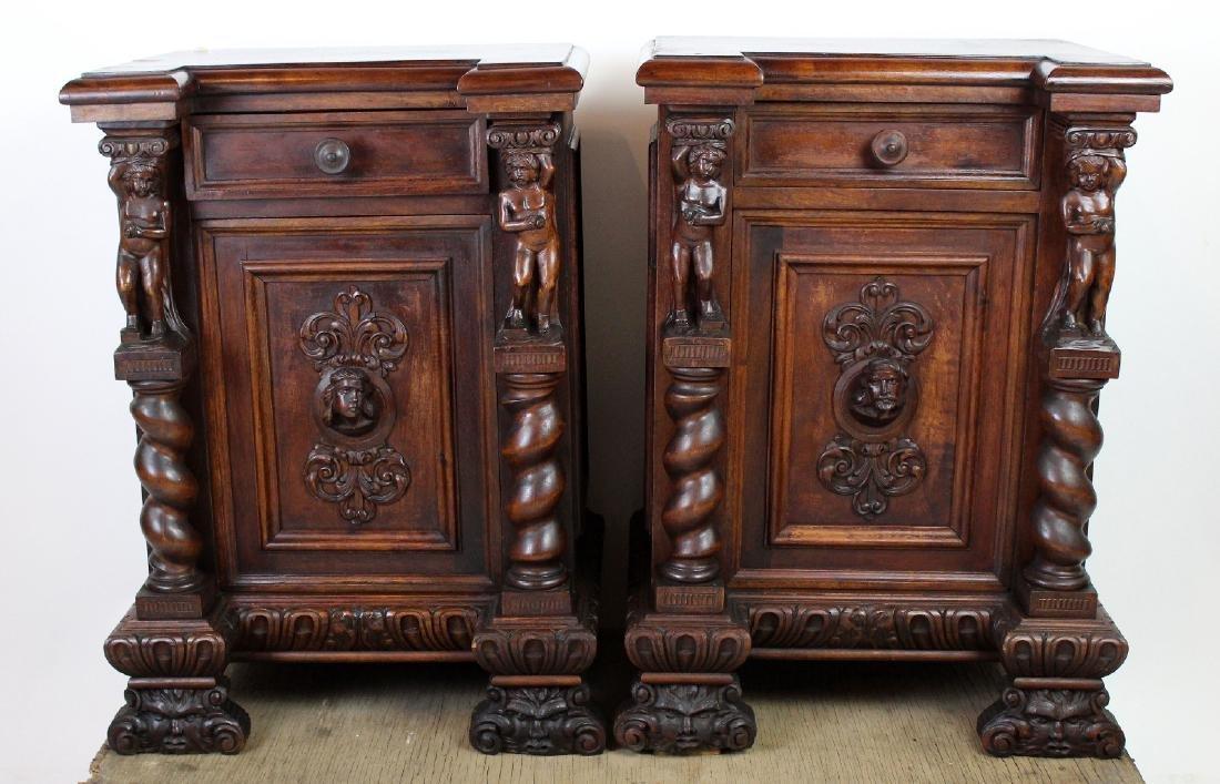Pair of Italian Renaissance nightstands - 3