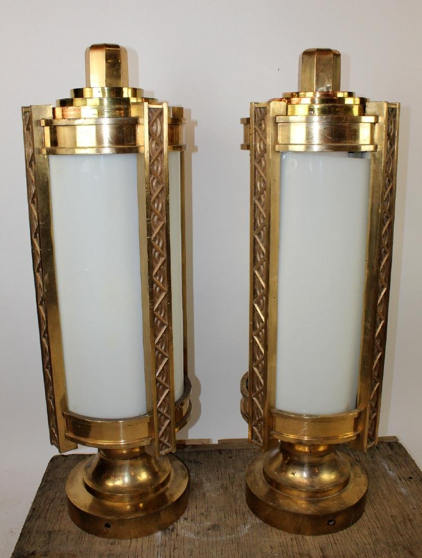 Pair bronze Art Deco cylinder theatre post lights
