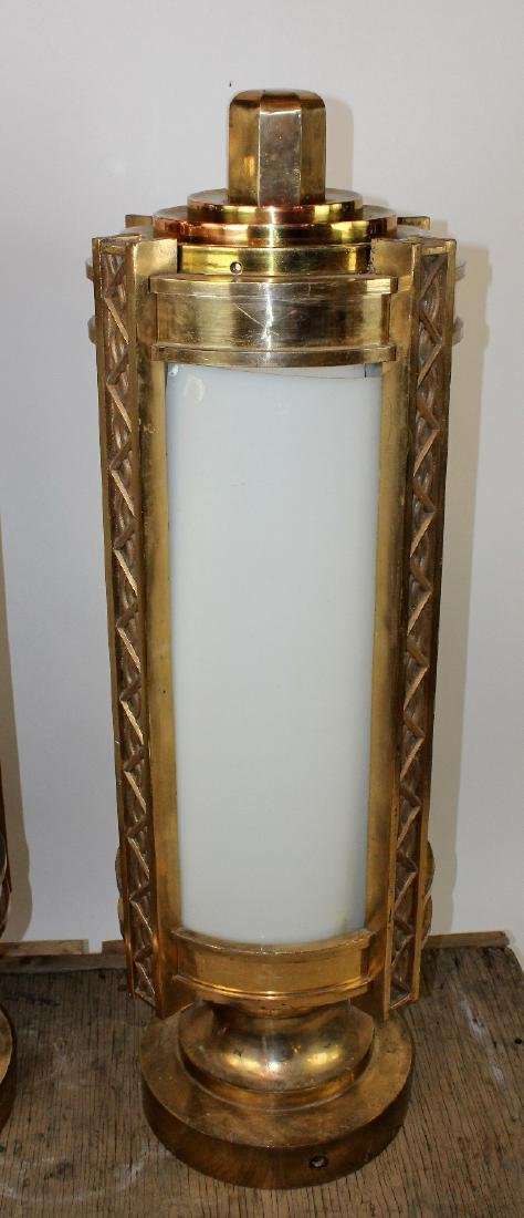 Pair bronze Art Deco cylinder theatre post lights - 3