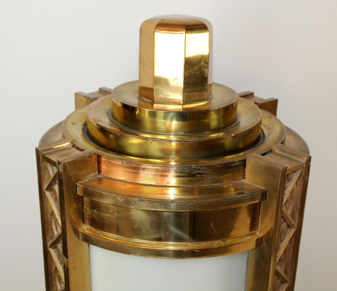 Pair bronze Art Deco cylinder theatre post lights - 4