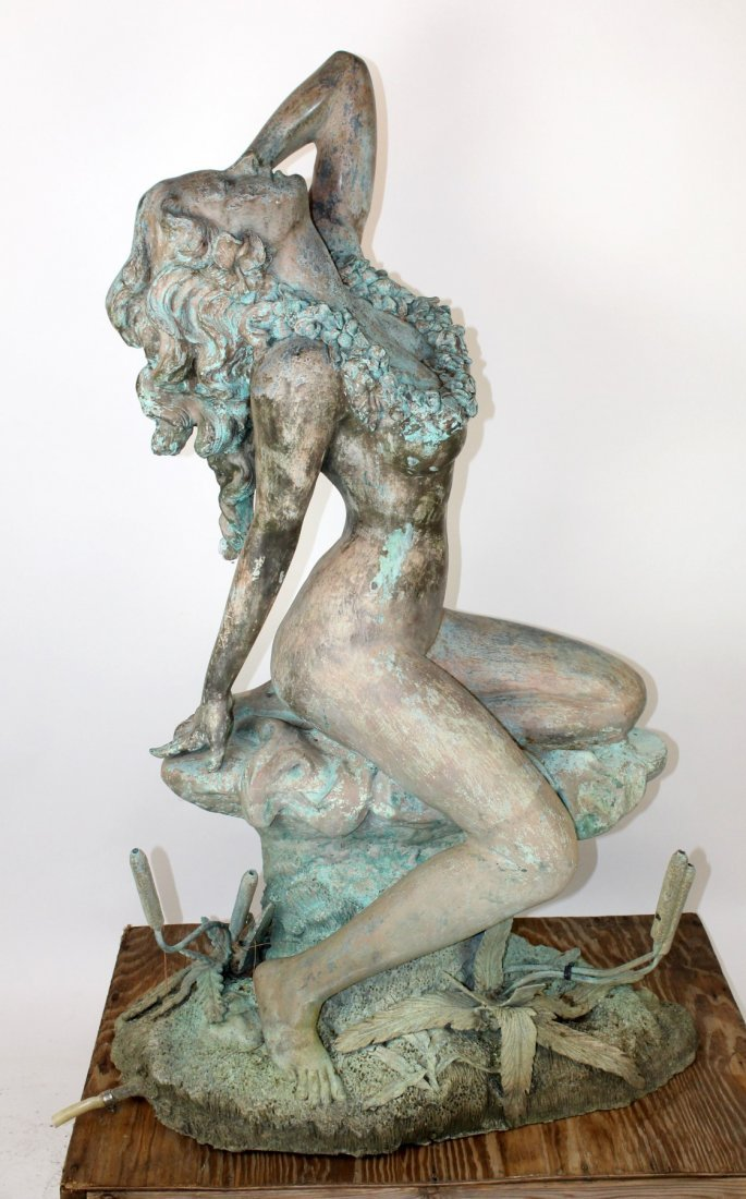 Verdigris bronze figural fountain