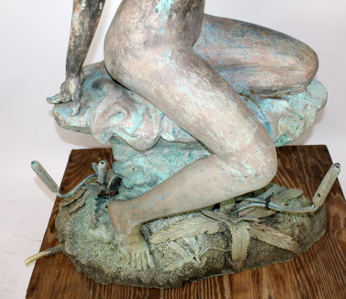 Verdigris bronze figural fountain - 3