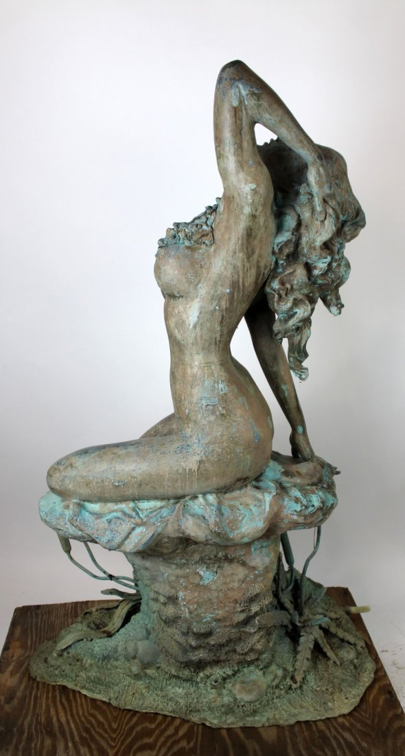 Verdigris bronze figural fountain - 5