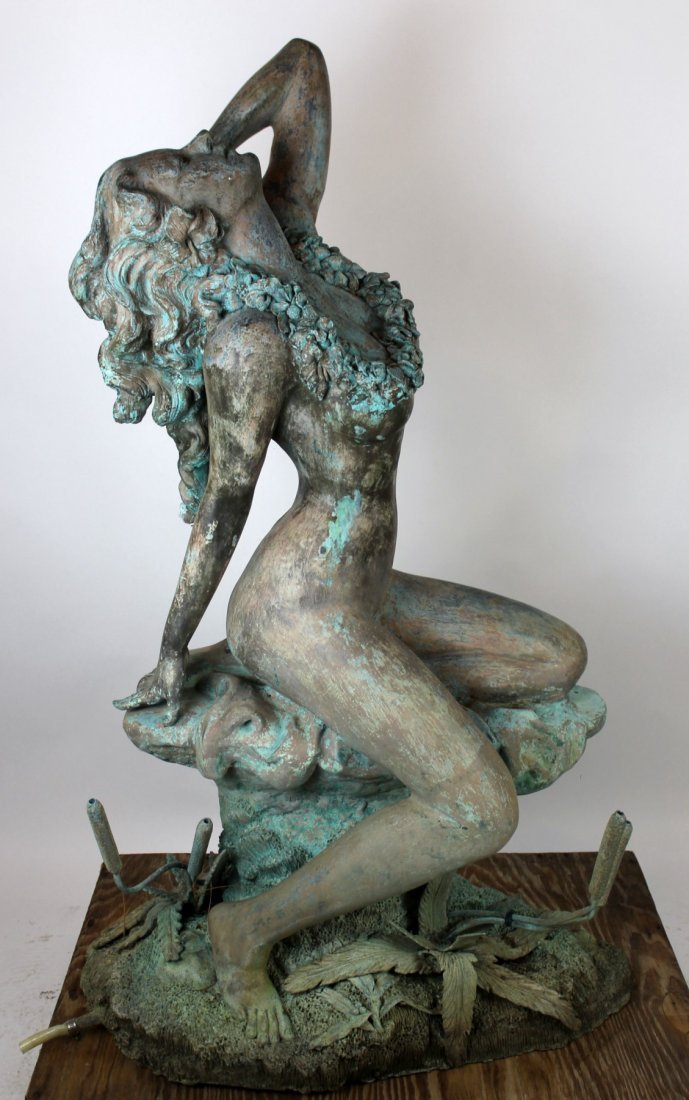 Verdigris bronze figural fountain - 6