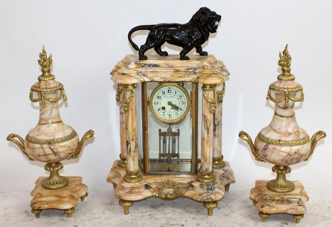 Louis XVI ormolu mounted marble clock