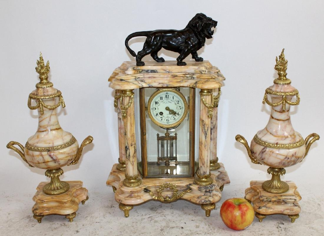 Louis XVI ormolu mounted marble clock - 6