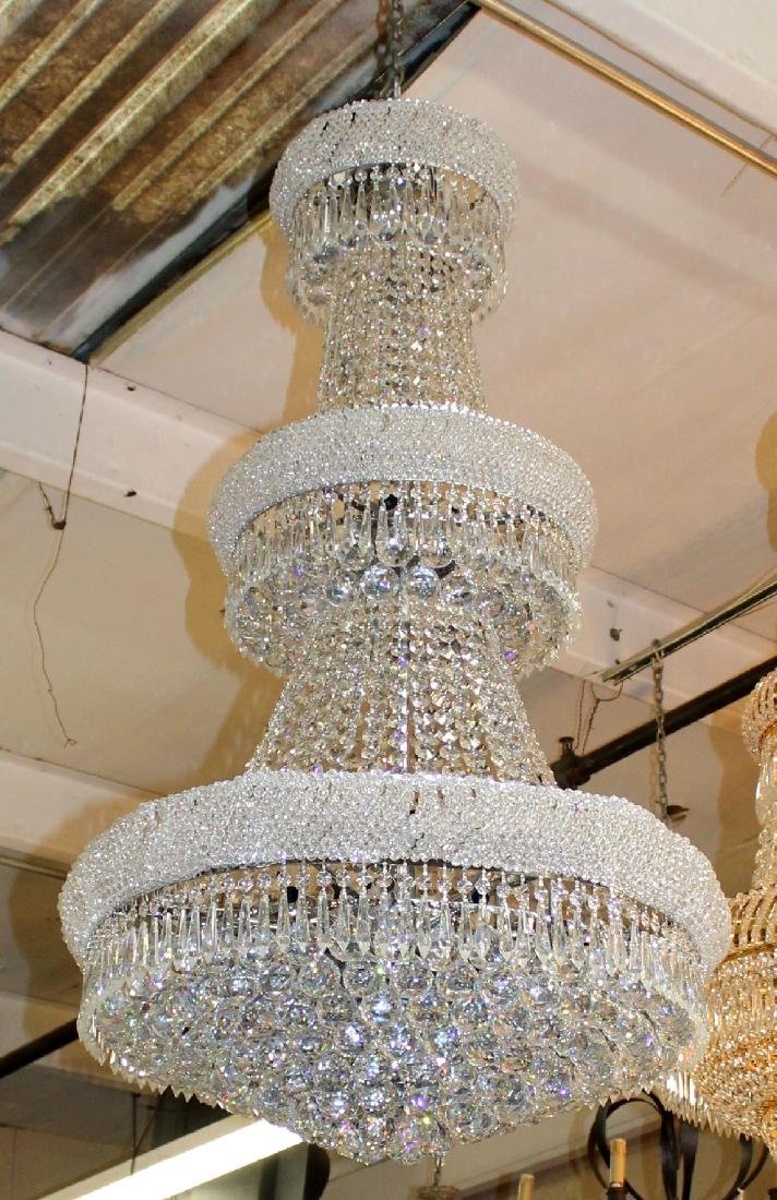 Silver finish tiered crystal chandelier