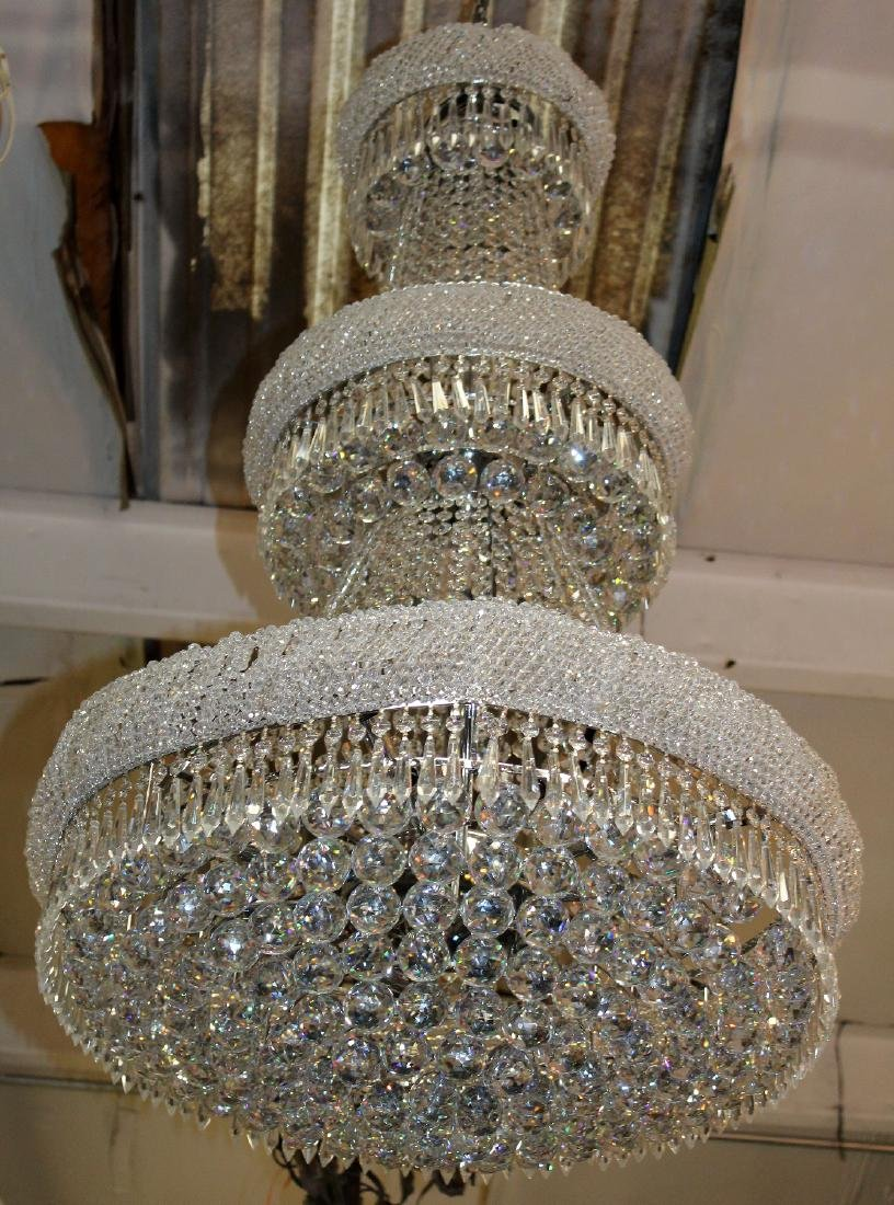 Silver finish tiered crystal chandelier - 2