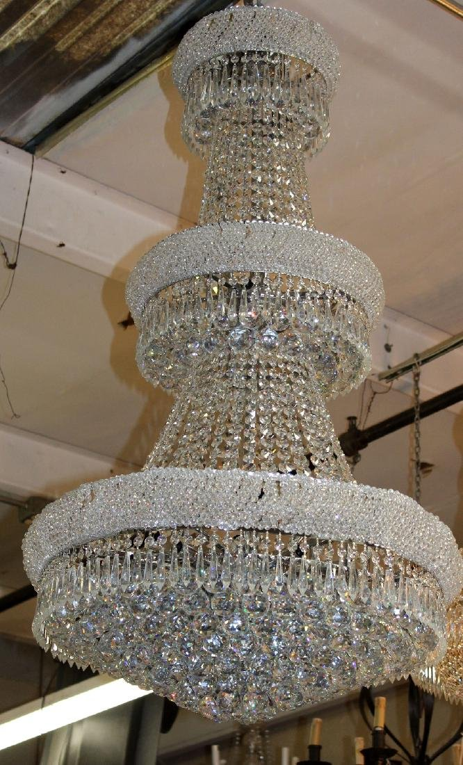 Silver finish tiered crystal chandelier - 3