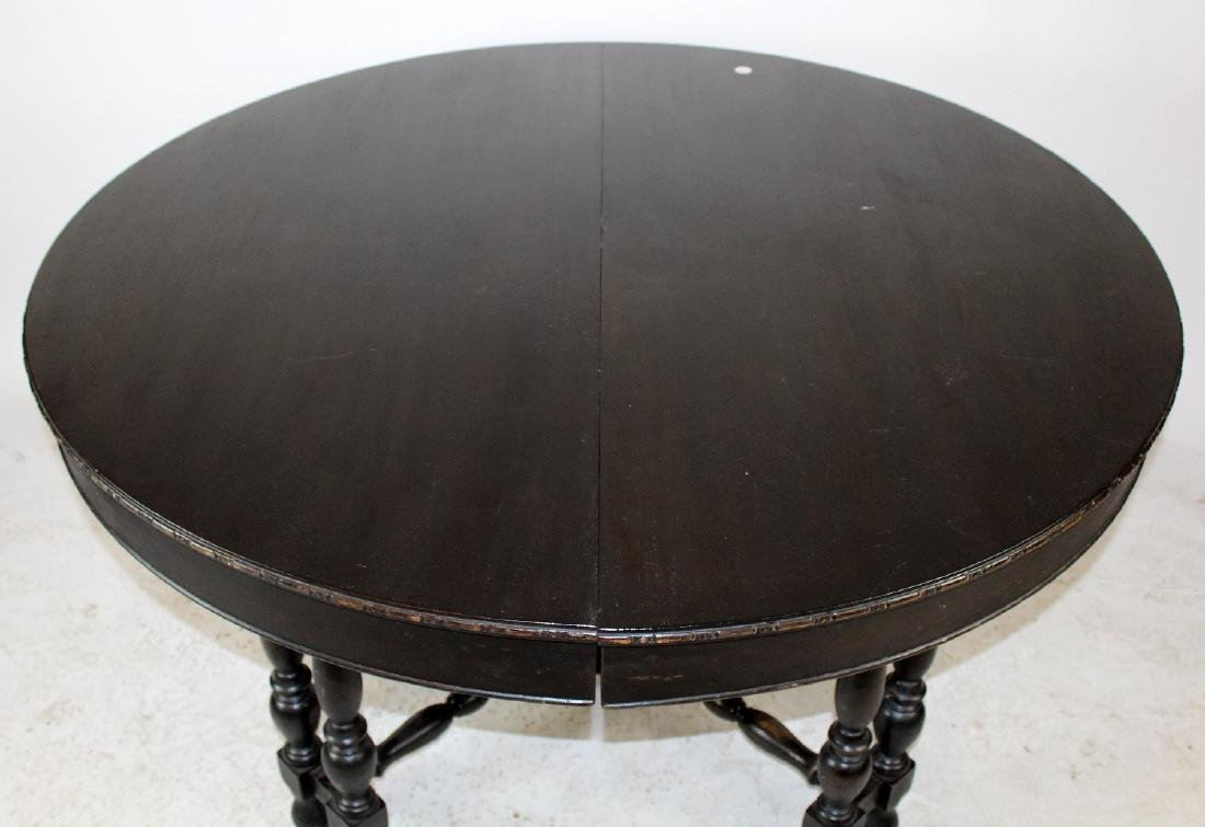 Spindle leg ebonized dining table - 3