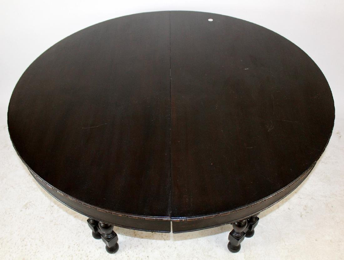 Spindle leg ebonized dining table - 5