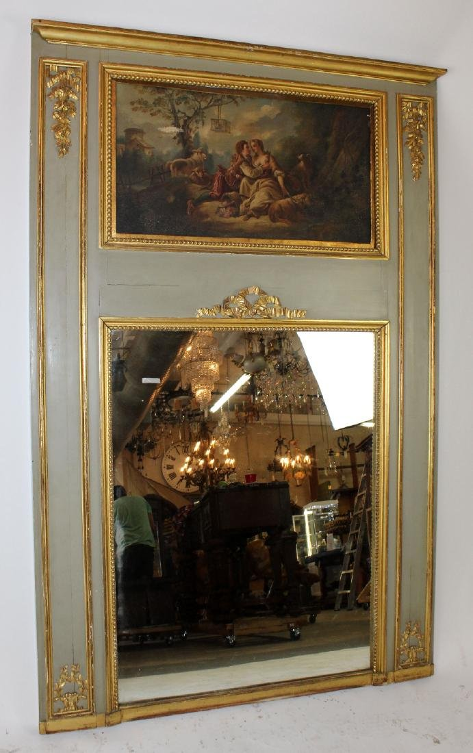 French painted trumeau mirror - 2