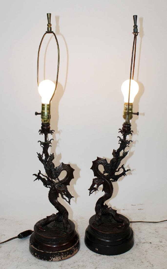 Pair Japanese Meiji bronze dragon lamps