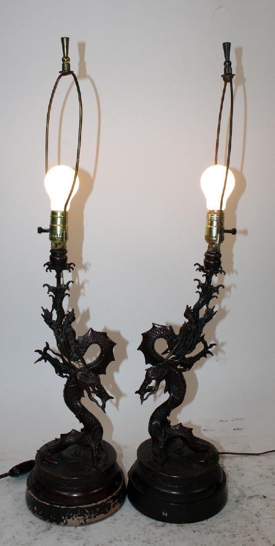 Pair Japanese Meiji bronze dragon lamps - 3