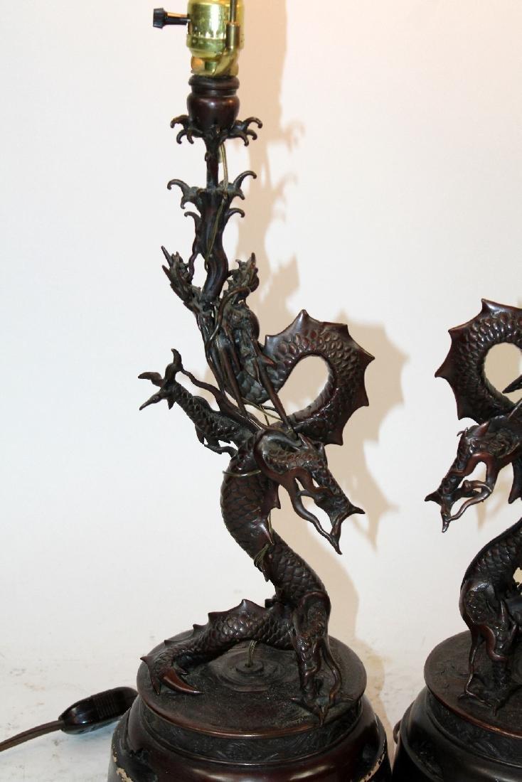 Pair Japanese Meiji bronze dragon lamps - 4