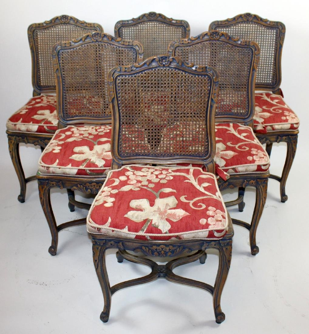 6 Louis XV style caned chairs