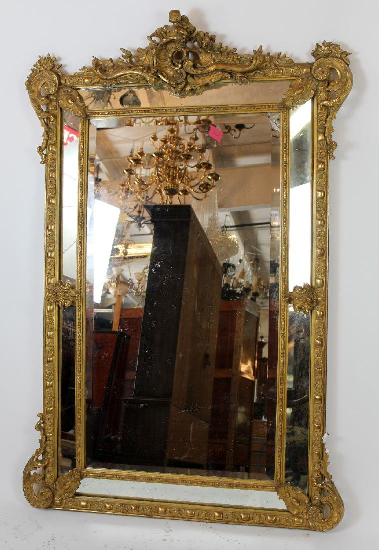 Louis XV gilt mirror with focal crest - 5