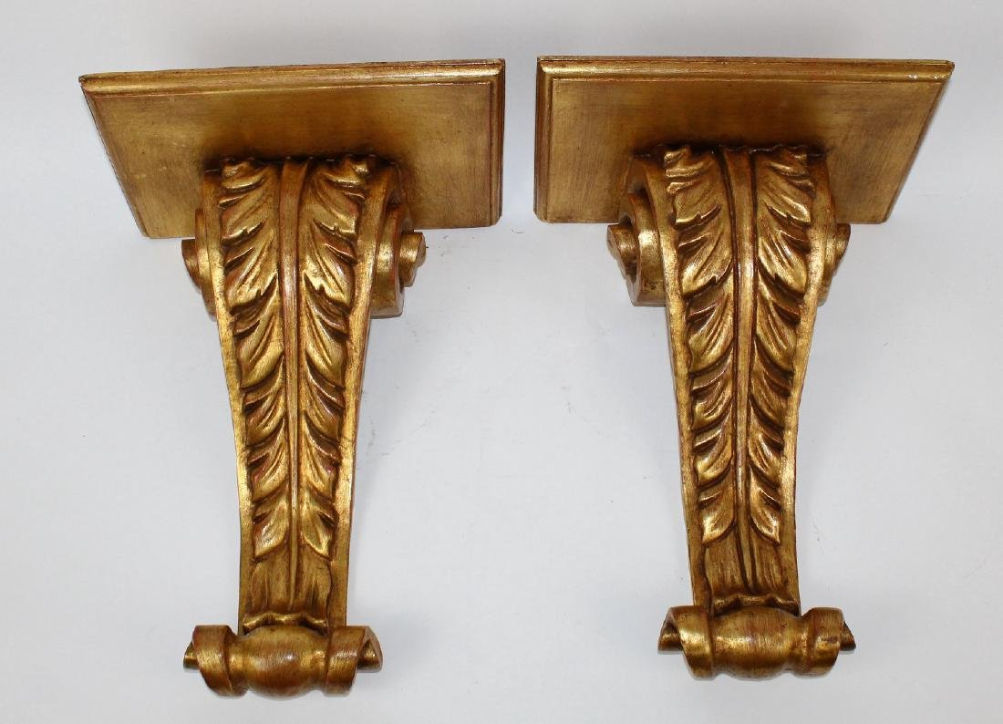 Pair of giltwood corbels