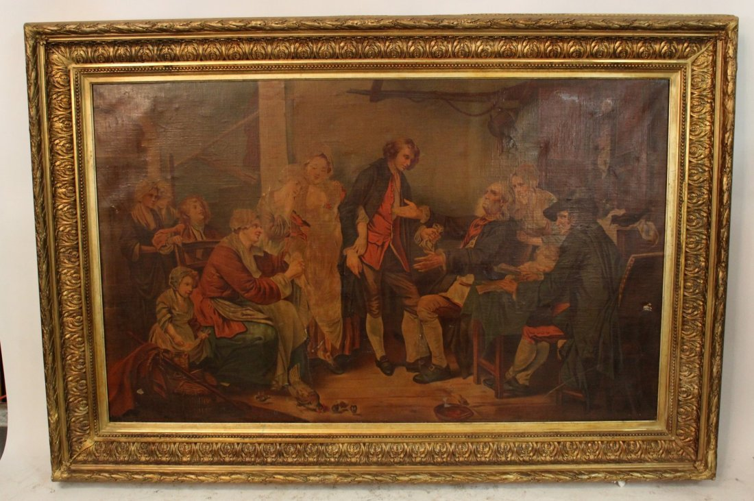 Lacquered print on canvas in 19th century frame