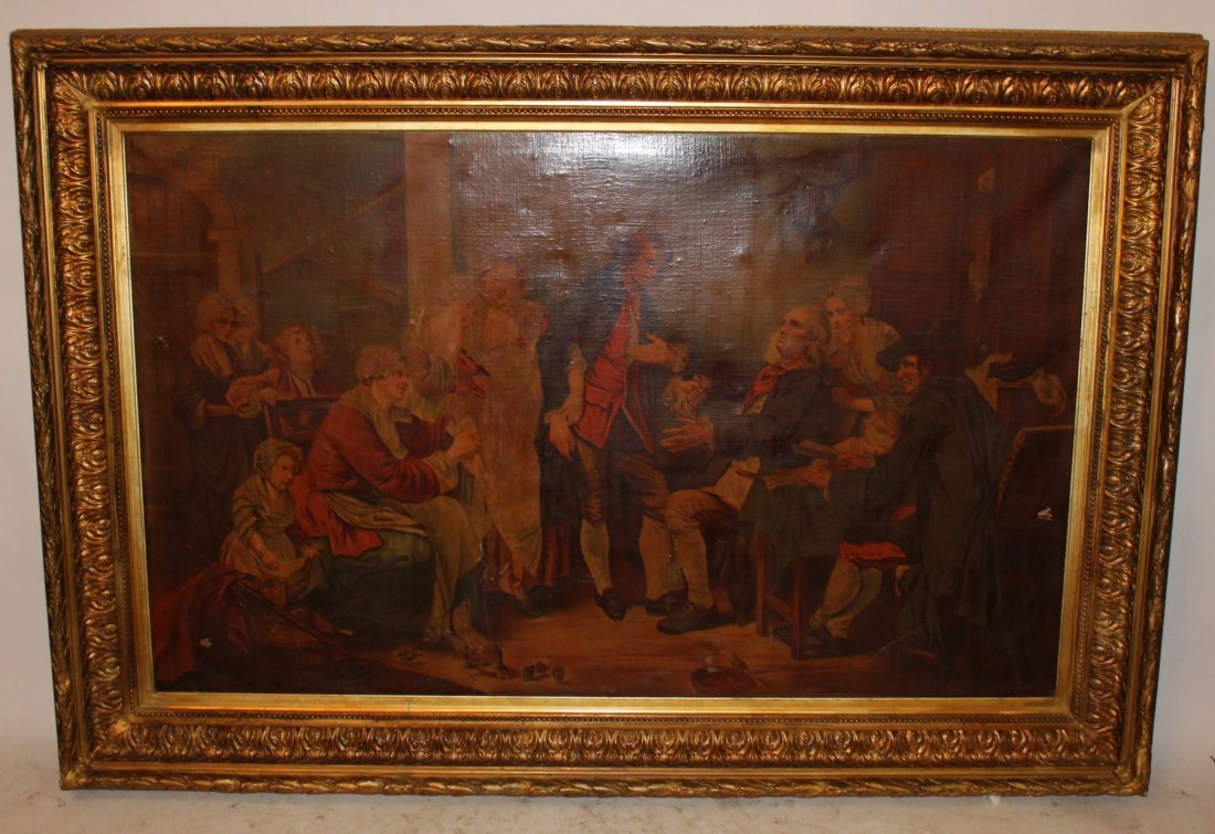 Lacquered print on canvas in 19th century frame - 2