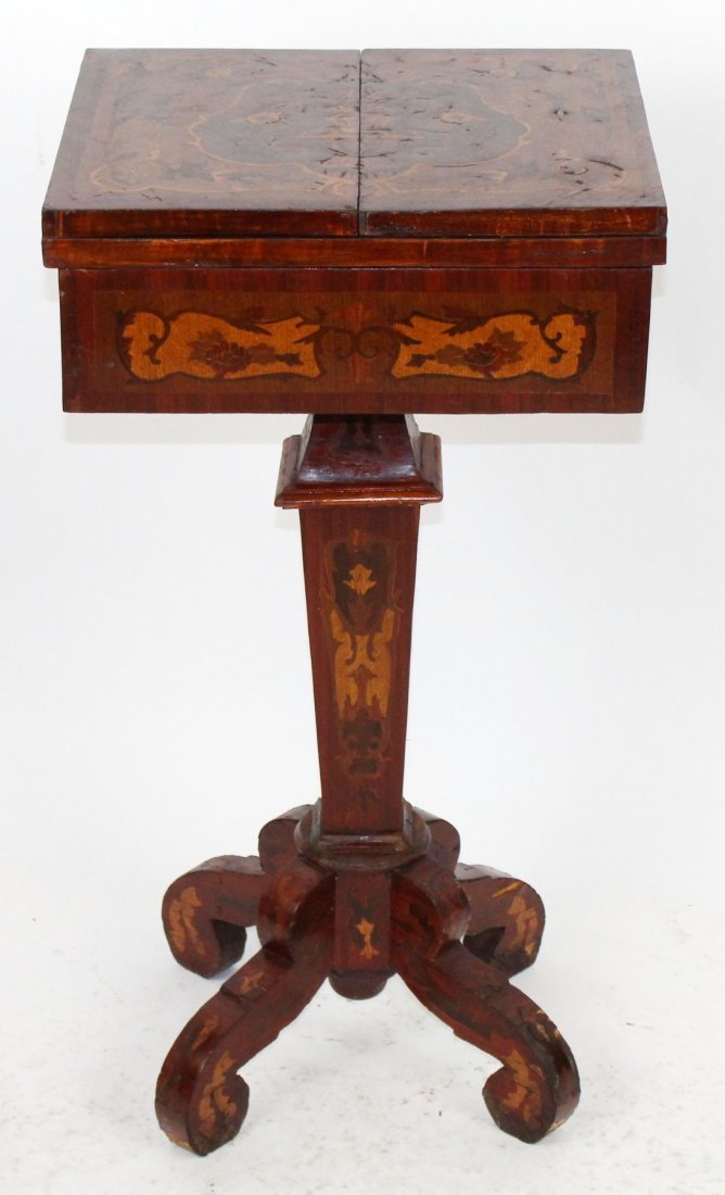 Italian marquetry pedestal base game table