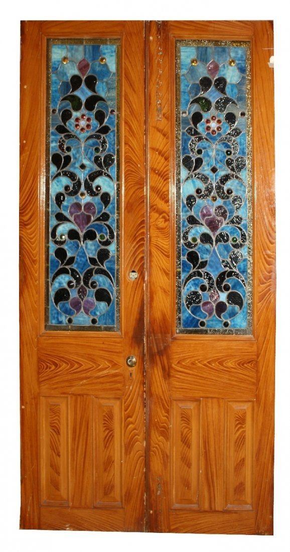 Pair American stained, leaded and jeweled glass doors