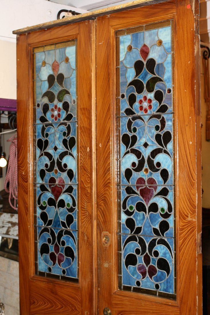Pair American stained, leaded and jeweled glass doors - 2