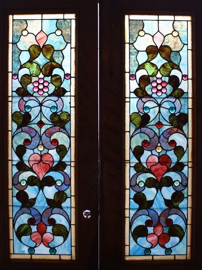 Pair American stained, leaded and jeweled glass doors - 3