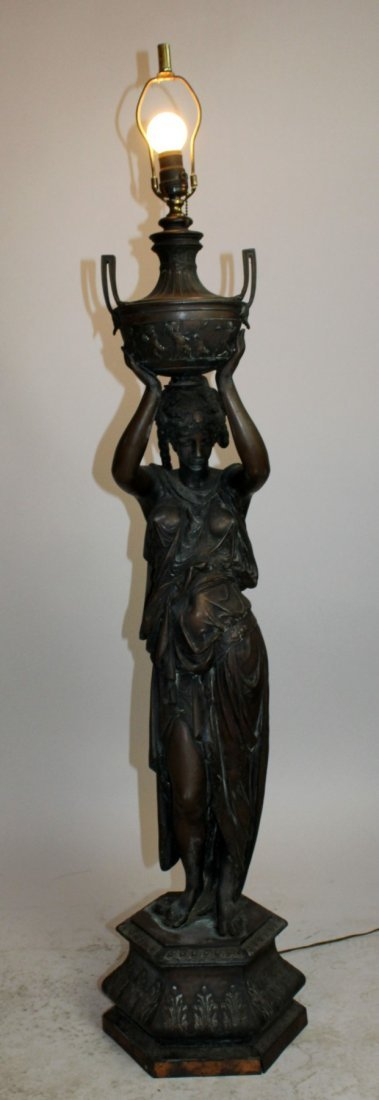 Classical Spelter female figural lamp with lifted urn