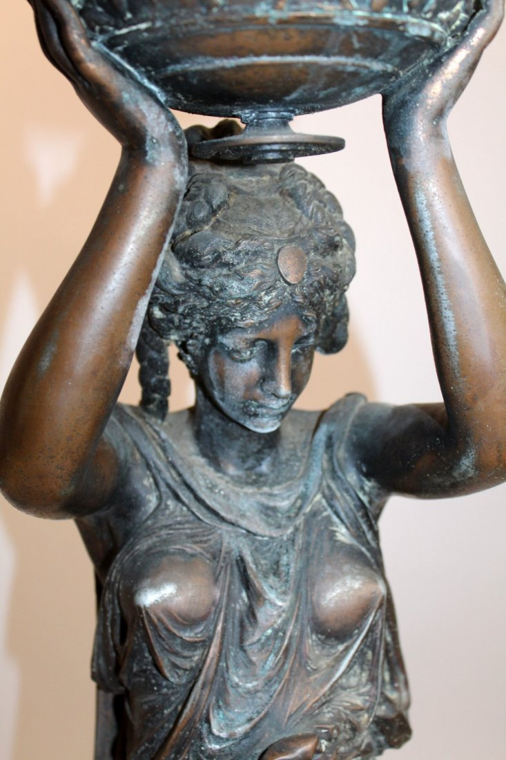 Classical Spelter female figural lamp with lifted urn - 2