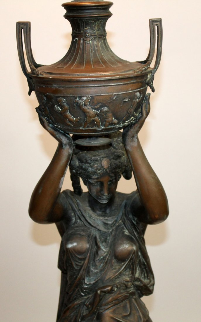 Classical Spelter female figural lamp with lifted urn - 3