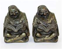 Pair of RUHL bronze clad Monk bookends