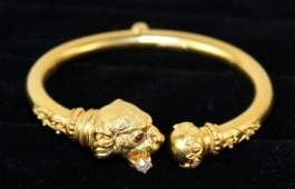 Victorian 18 kt gold tiger bangle bracelet