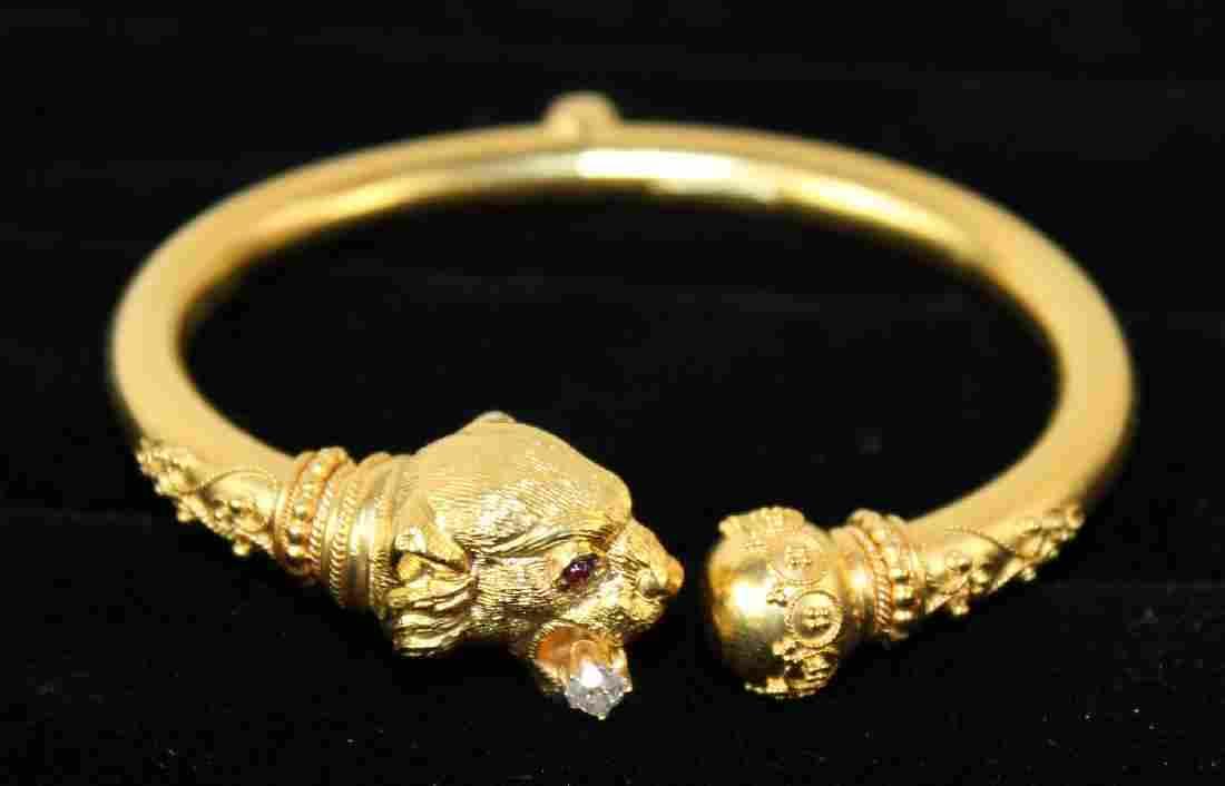 Victorian 18 kt gold tiger bangle bracelet