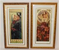 Pair Mucha Foundation fine art lithographs