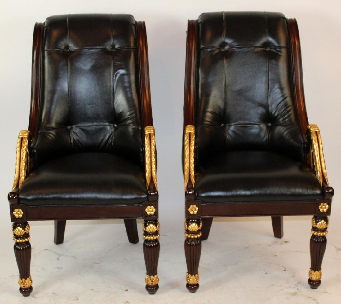 Pair Of Mahogany And Leather Armchairs