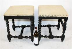 A pair of French barley twist stools