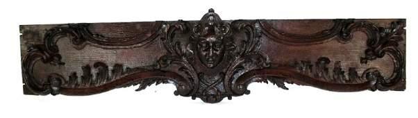 Antique French carved oak figural panel