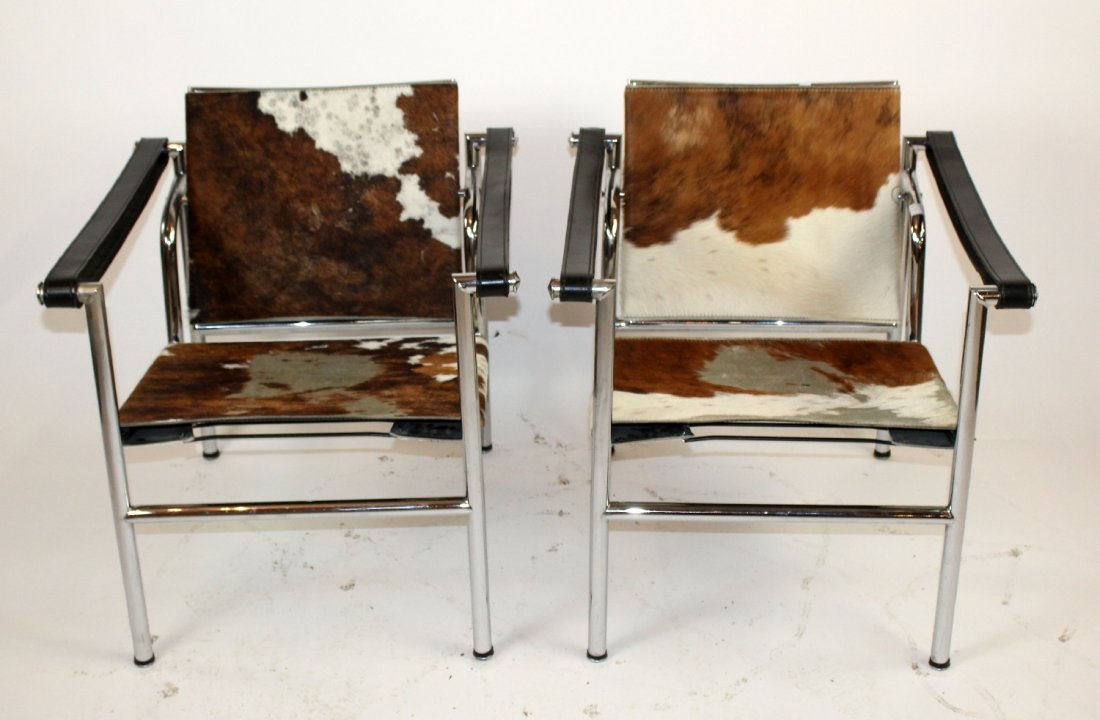 Pair Le Corbusier chairs with cowhide