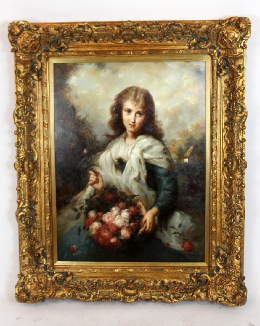 Oil on canvas portrait young girl with flowers