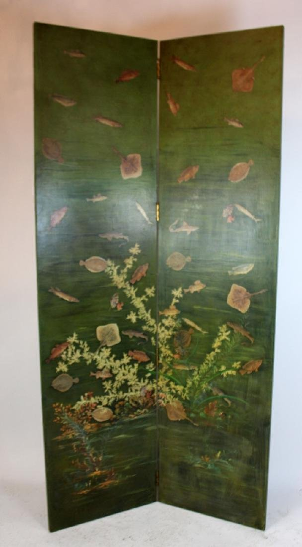 Crackle finish 2 panel screen with sealife motif.